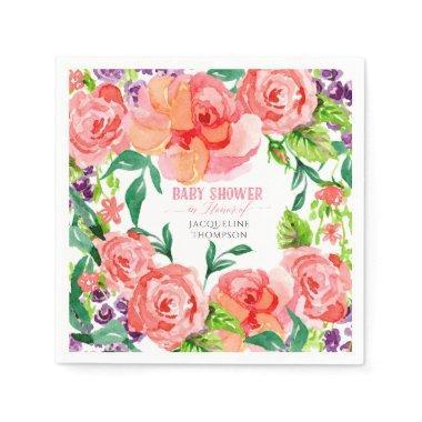 Baby Shower Girl Watercolor Modern Flowers Roses Paper Napkin