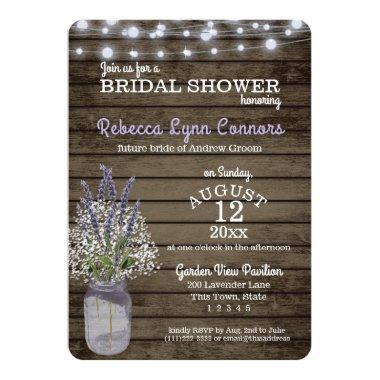 Baby's Breath and Lavender Rustic Bridal Shower Invitations