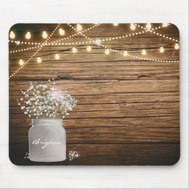 Baby's Breath Floral in Rustic Mason Jar & Lights Mouse Pad