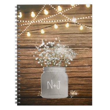 Baby's Breath Floral in Rustic Mason Jar & Lights Notebook