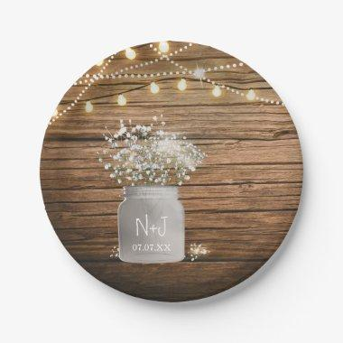 Baby's Breath Floral in Rustic Mason Jar & Lights Paper Plate