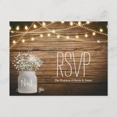 Baby's Breath Floral in Rustic Mason Jar RSVP Invitation PostInvitations