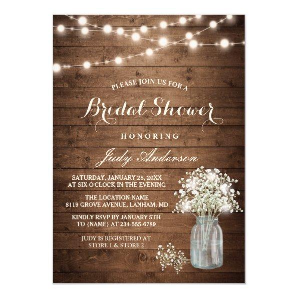 Baby's Breath Mason Jar Rustic Wood