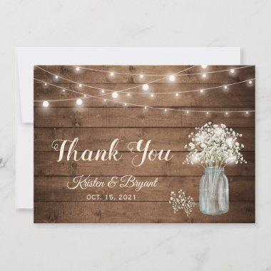 Baby's Breath Mason Jar String Lights Wedding Thank You Invitations