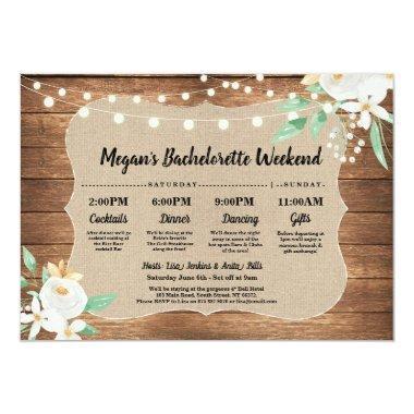 Bachelorette  Itinerary Wood White