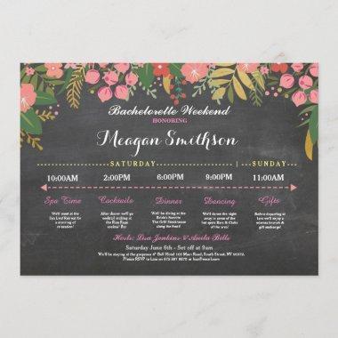 Bachelorette Itinerary Coral & Gold Chalk Invite