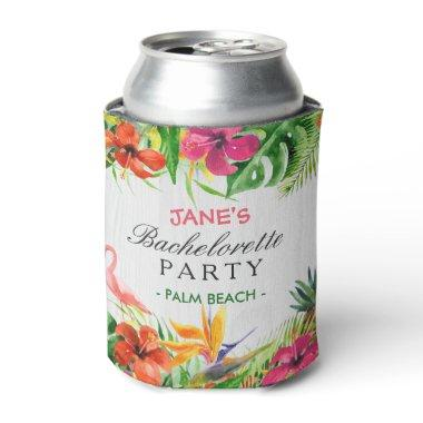 Bachelorette Party Rustic Tropical Floral Flamingo Can Cooler