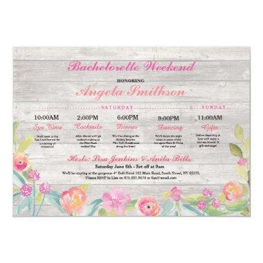 Bachelorette Rustic Bridal Shower Itinerary Coral Invitations