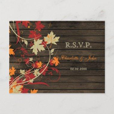 Barn Wood Rustic Fall Leaves Wedding rsvp Invitation PostInvitations