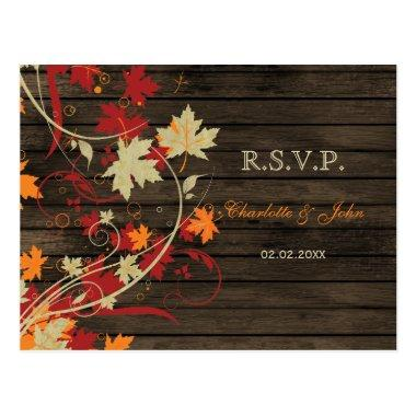 Barn Wood Rustic Fall Leaves Wedding rsvp Post