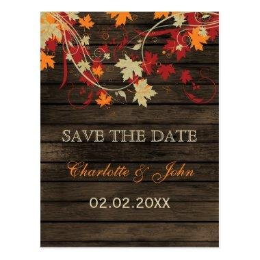 Barn Wood Rustic Fall Leaves Wedding save the date Post