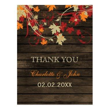 Barn Wood Rustic Fall Leaves Wedding Thank You PostInvitations
