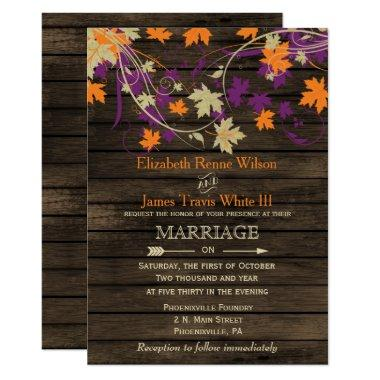 Barn wood, Rustic Fall Plum leaves wedding Invitations