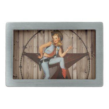 Barn Wood Texas Star western country Cowgirl Belt Buckle