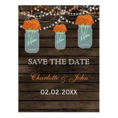 Barnwood orange flowers mason jars save dates post