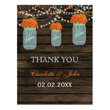 Barnwood orange flowers mason jars Thank You notes Post