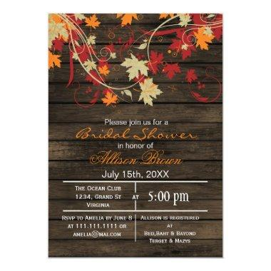 Barnwood rustic fall bridal shower Invitations
