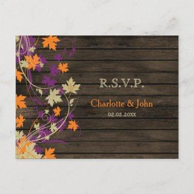 Barnwood Rustic plum fall leaves wedding RSVP Invitation PostInvitations