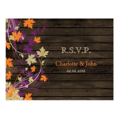 Barnwood Rustic plum fall leaves wedding RSVP Post