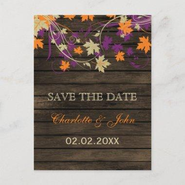 Barnwood Rustic plum leaves fall save the Date Announcement PostInvitations