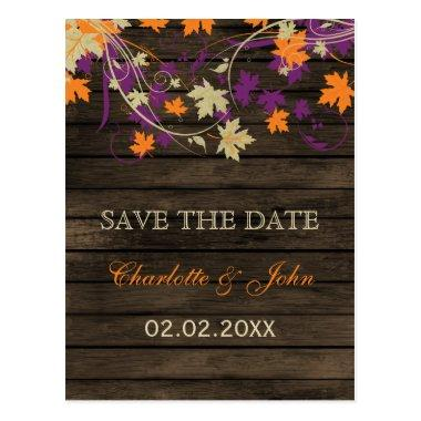 Barnwood Rustic plum leaves fall save the Date Post
