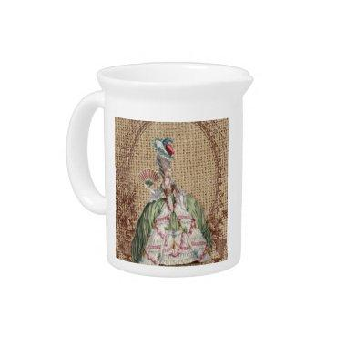 baroque french country burlap Marie Antoinette Beverage Pitcher