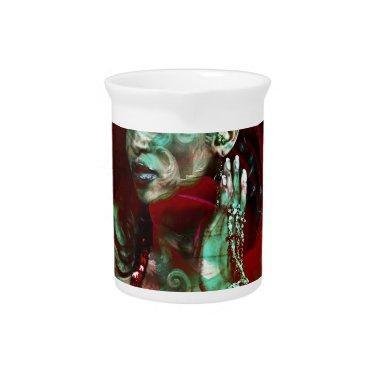 Baroque meets Oriental rose Beverage Pitcher