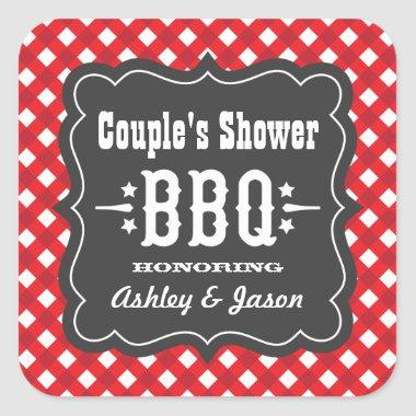 BBQ Gingham Plaid Sticker   Red and Charcoal Black