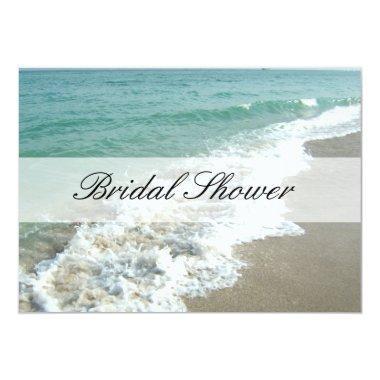 Beach Bridal Shower Invitations, Aqua Blue/White Invitations