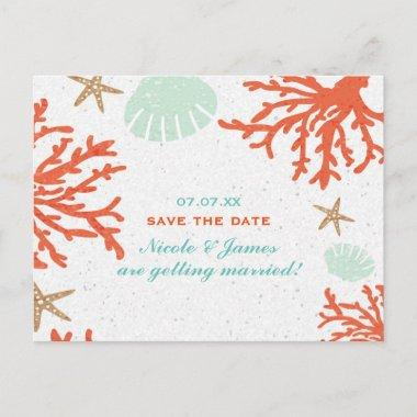 Beach Coral Reef Sea Shell Starfish Save The Date Announcement Post