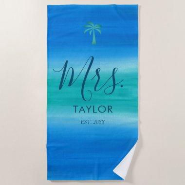 Beach Ombre Ocean Blue Green Beach Towel