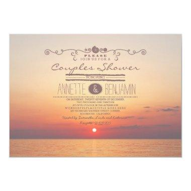 Beach sunset romantic modern couples shower