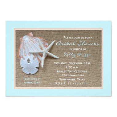 Beach Theme Bridal Shower Invitations -- Burlap