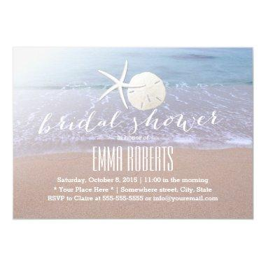 Beach Theme Starfish & Sand Dollar Bridal Shower Invitations
