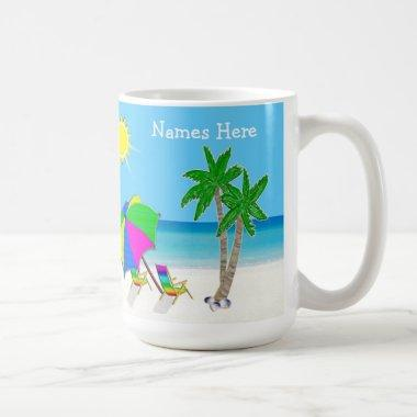 Beach Themed Wedding Gifts 2 Text Boxes Coffee Mug