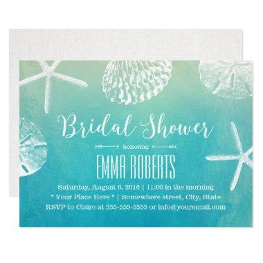 beach wedding seashells watercolor bridal shower invitations