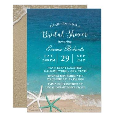 Beach Wedding Starfish Summer Bridal Shower Invitations
