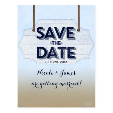 Beach White Wood Sign Save The Date Post