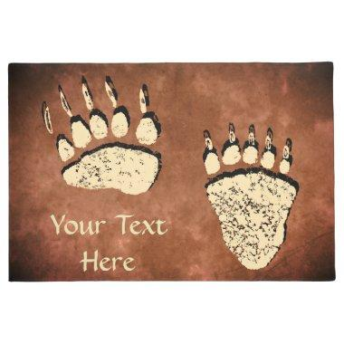 "Bear Paws on Brown - 24""x36"" Door Mat"