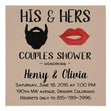 Beard and Lips Couples Wedding Shower Invitations