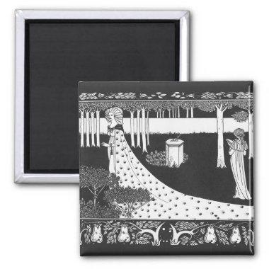 Beardsley Art Nouveau Black and White Woman Magnet