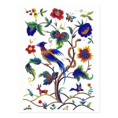 Beautful Jacobean Bird of Paradise Embroidery PostInvitations