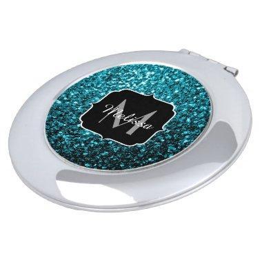 Beautiful Aqua blue glitter sparkles Monogram Vanity Mirror
