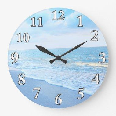 Beautiful Blue and Turquoise Beach Wall Clock