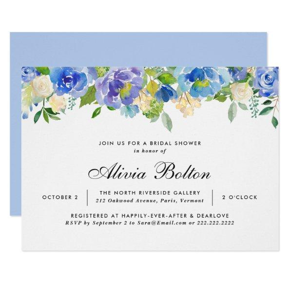Beautiful Blue Floral Watercolor Bridal Shower Invitations