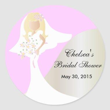 Beautiful Bride Bridal Shower Classic Round Sticker