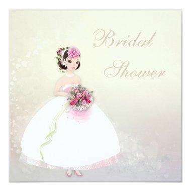 Beautiful Bride Romantic Hearts Bridal Shower Invitations