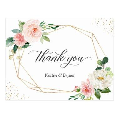 Beautiful Elegant Gold Blush Floral Thank You PostInvitations