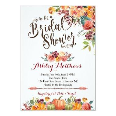 Beautiful FalFloral Bridal Shower Invitations, Baby Invitations