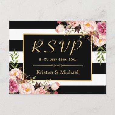 Beautiful Floral Black White Stripes Wedding RSVP Invitation PostInvitations